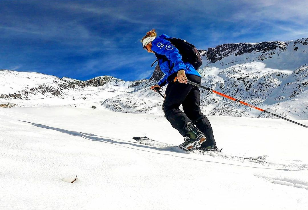 Avery Collins, award-winning ultrarunner and endurance athlete, skins up a mountain on a set of skis in Silverton, Colorado