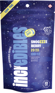Incredibles Snoozzzeberry gummies in packaging. Cannabis may be used to obtain better sleep.