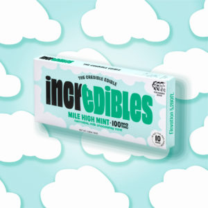 A pack shot of Mile High Mint, an award-winning cannabis-infused chocolate bar by incredibles.