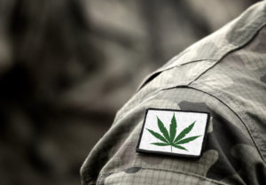 A person in an Army uniform wearing a cannabis leaf patch. Veteran medical care is a large reason to advocate for federal cannabis legalization.